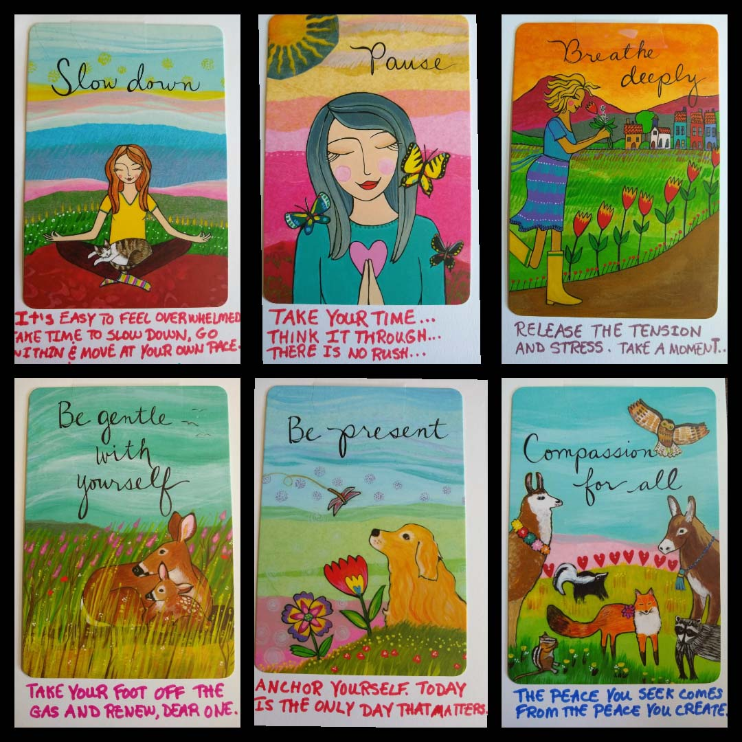 Colorful illustrations of animals, women and text; Slow down, pause, breathe deeply, be gentle with yourself, be present, compassion for all