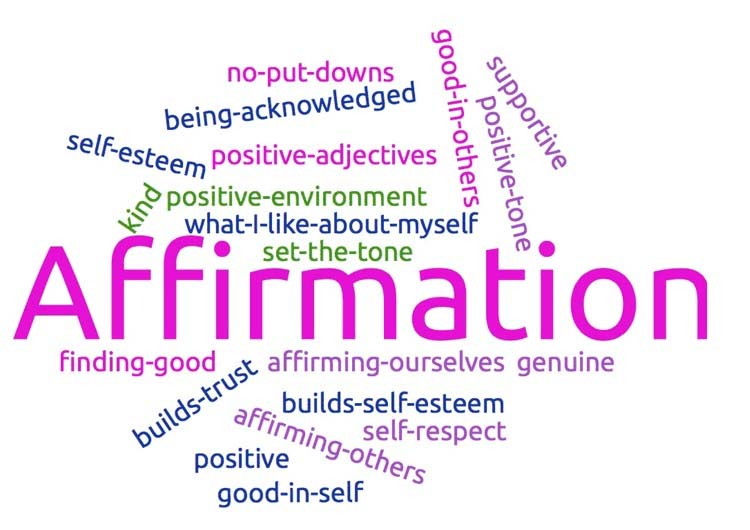 Word cloud with Affirmation in the center and smaller phrases around it; no-put-downs, positive-environment, self-respect, good-in-others, supportive, positive-tone, genuine, builds-trust, self-esteem, set-the-tone, finding-good, no-put-downs
