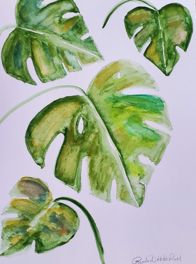 Painting of tropical leaves in shades of green, signed by artist
