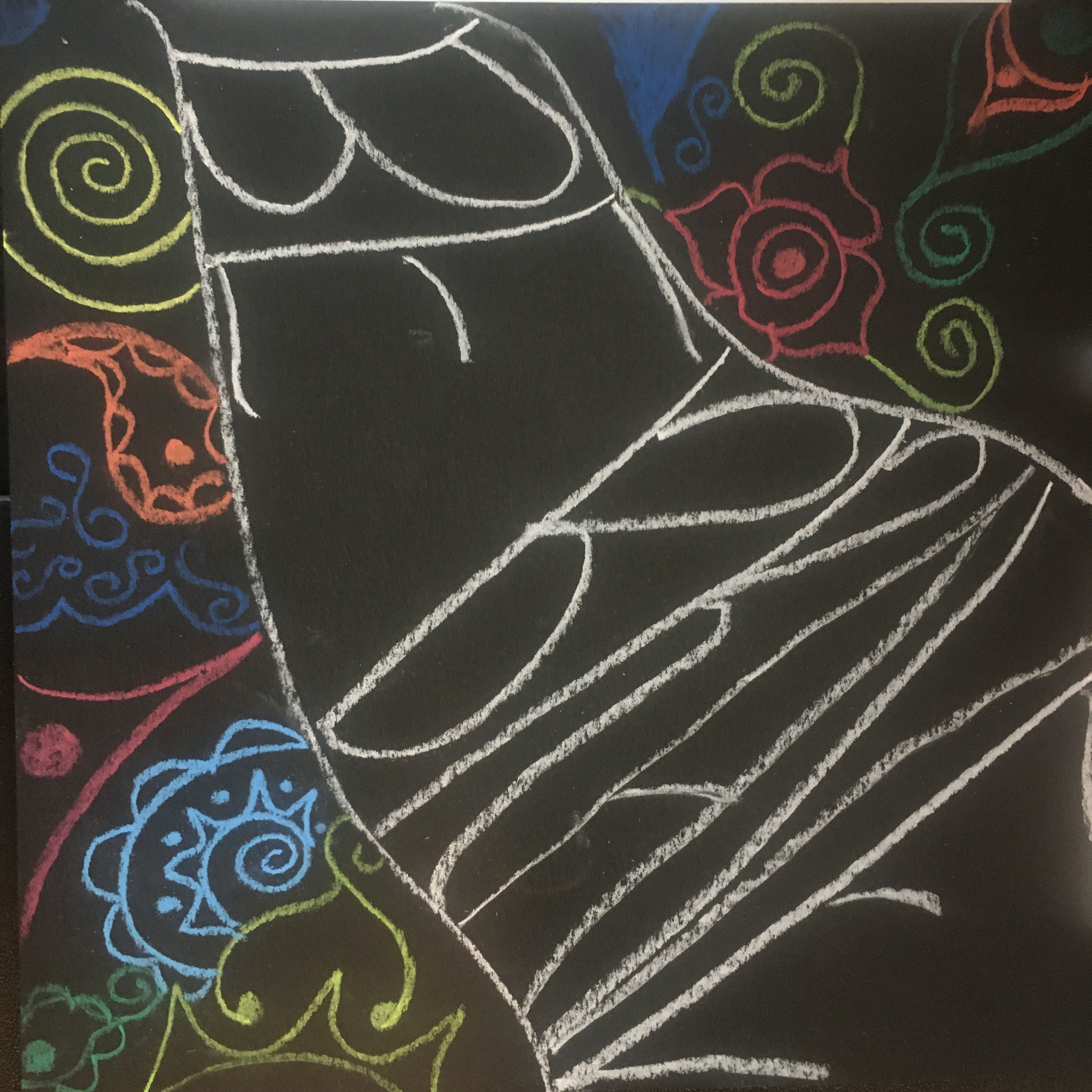 Colorful chalk drawing with flourishes that reads Be Brave.